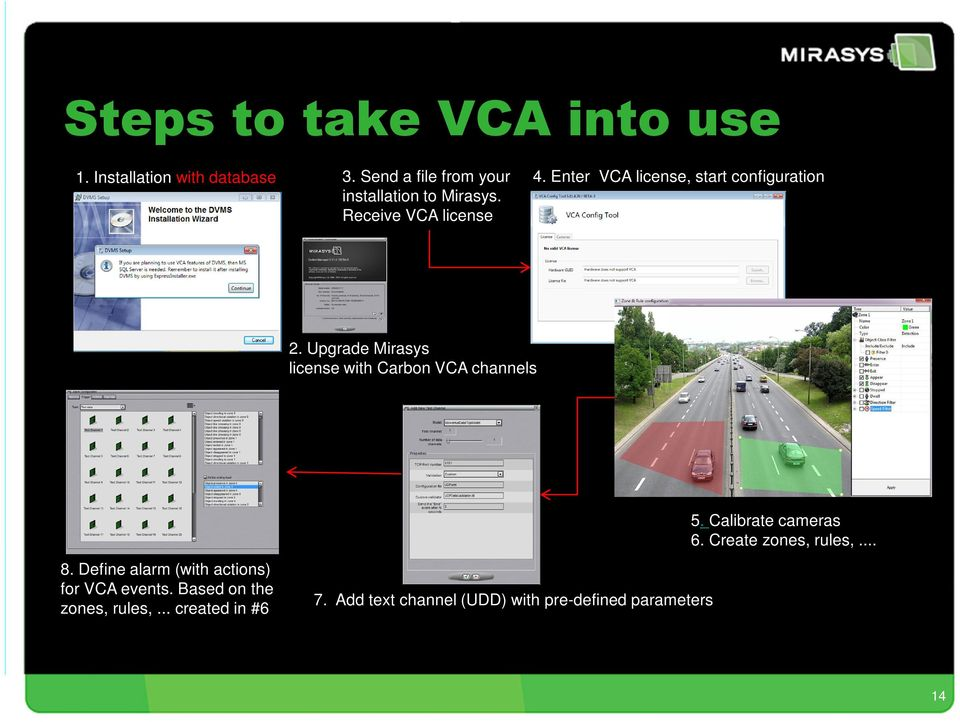 Enter VCA license, start configuration 2. Upgrade Mirasys license with Carbon VCA channels 8.