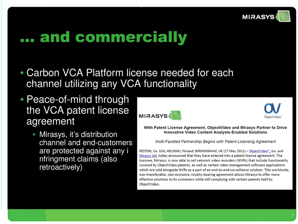 patent license agreement Mirasys, it s distribution channel and