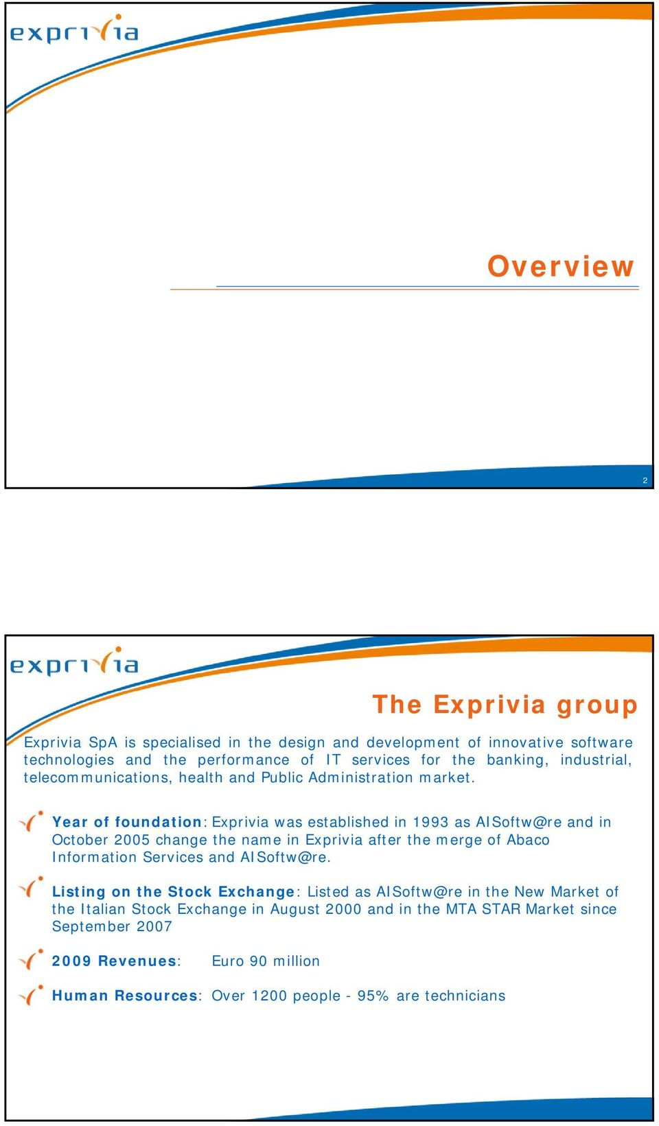 Year of foundation: Exprivia was established in 1993 as AISoftw@re and in October 2005 change the name in Exprivia after the merge of Abaco Information Services and