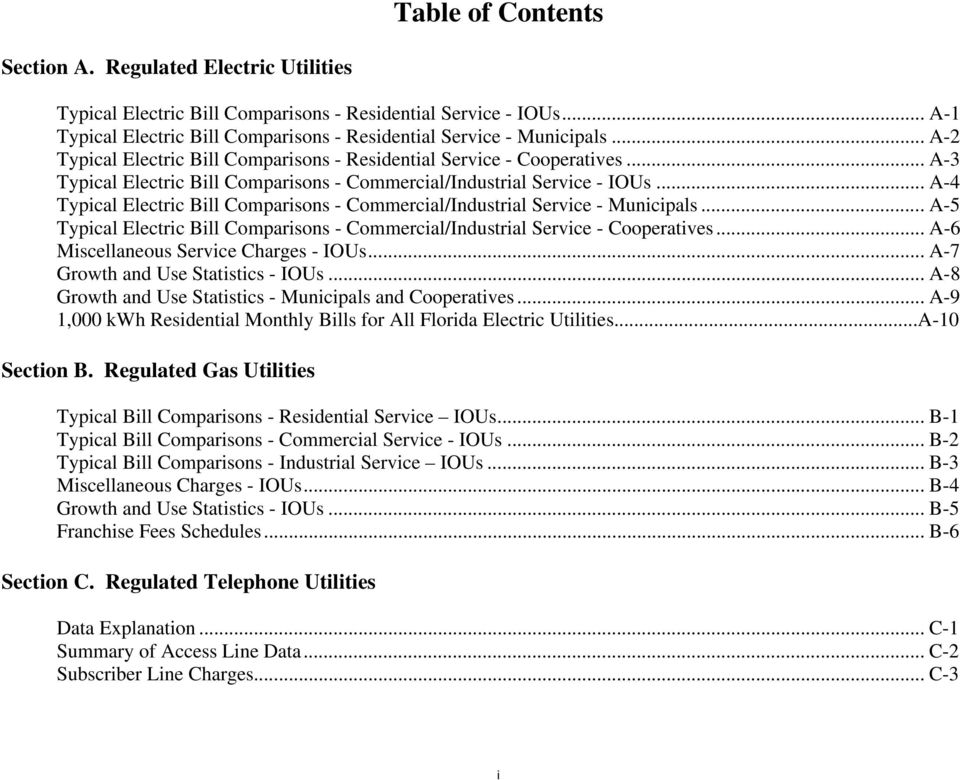 .. A-4 Typical Electric Bill Comparisons - Commercial/Industrial Service - Municipals... A-5 Typical Electric Bill Comparisons - Commercial/Industrial Service - Cooperatives.