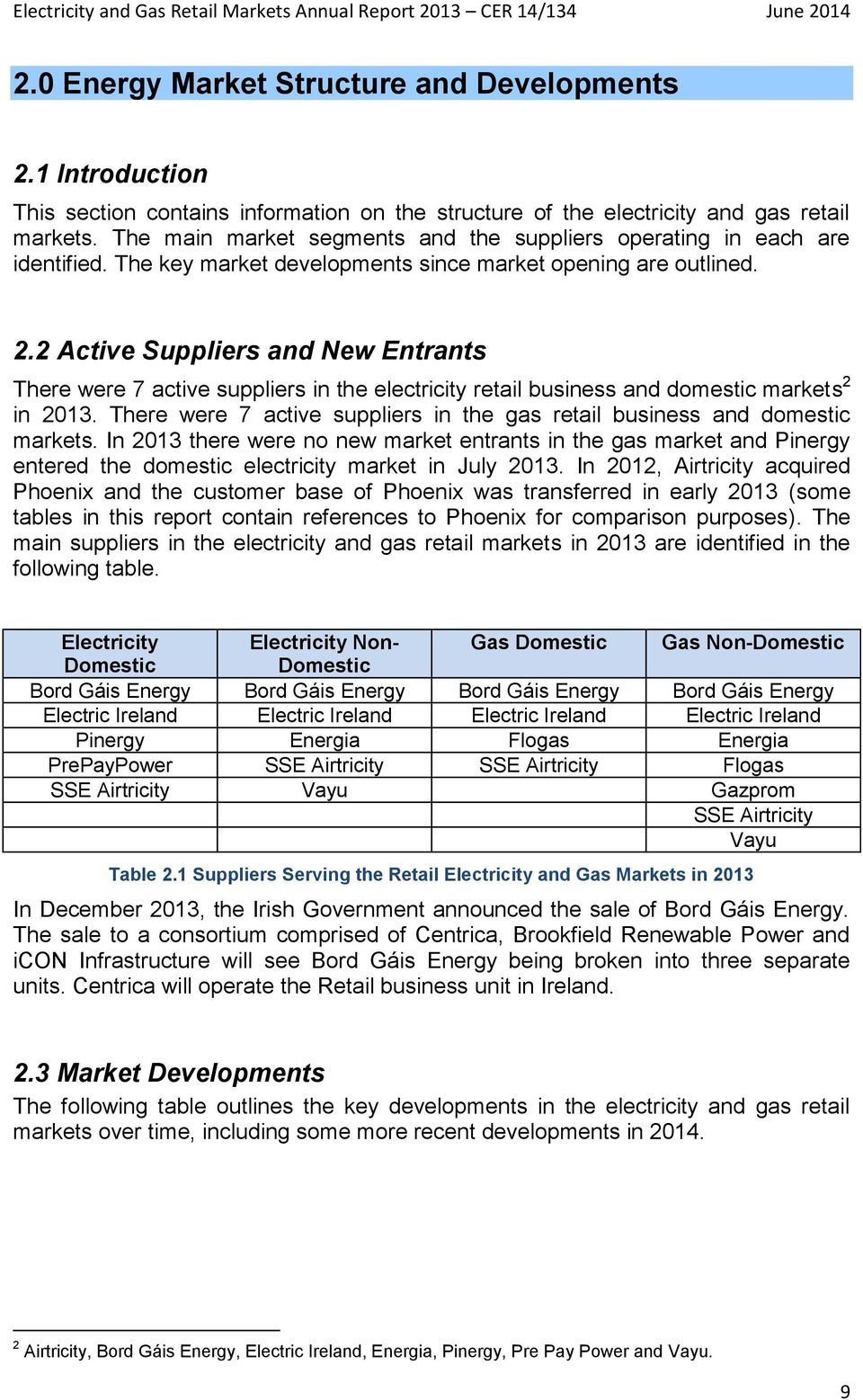 2 Active Suppliers and New Entrants There were 7 active suppliers in the electricity retail business and domestic markets 2 in 2013.