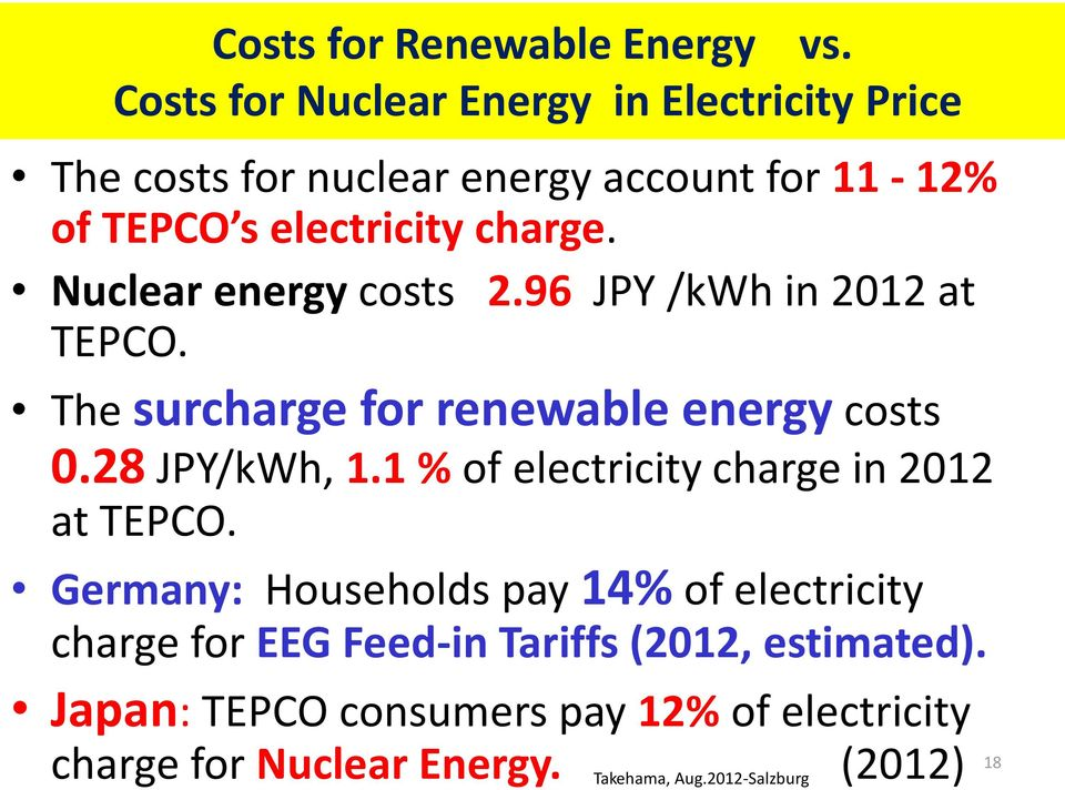Nuclear energy costs 2.96 JPY /kwh in 2012 at TEPCO. The surcharge for renewable energy costs 0.28 JPY/kWh, 1.