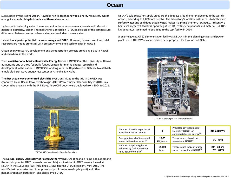 Ocean Thermal Energy Conversion (OTEC) makes use of the temperature differences between warm surface waters and cold, deep ocean waters. Hawaii has superior poten al for wave energy and OTEC.