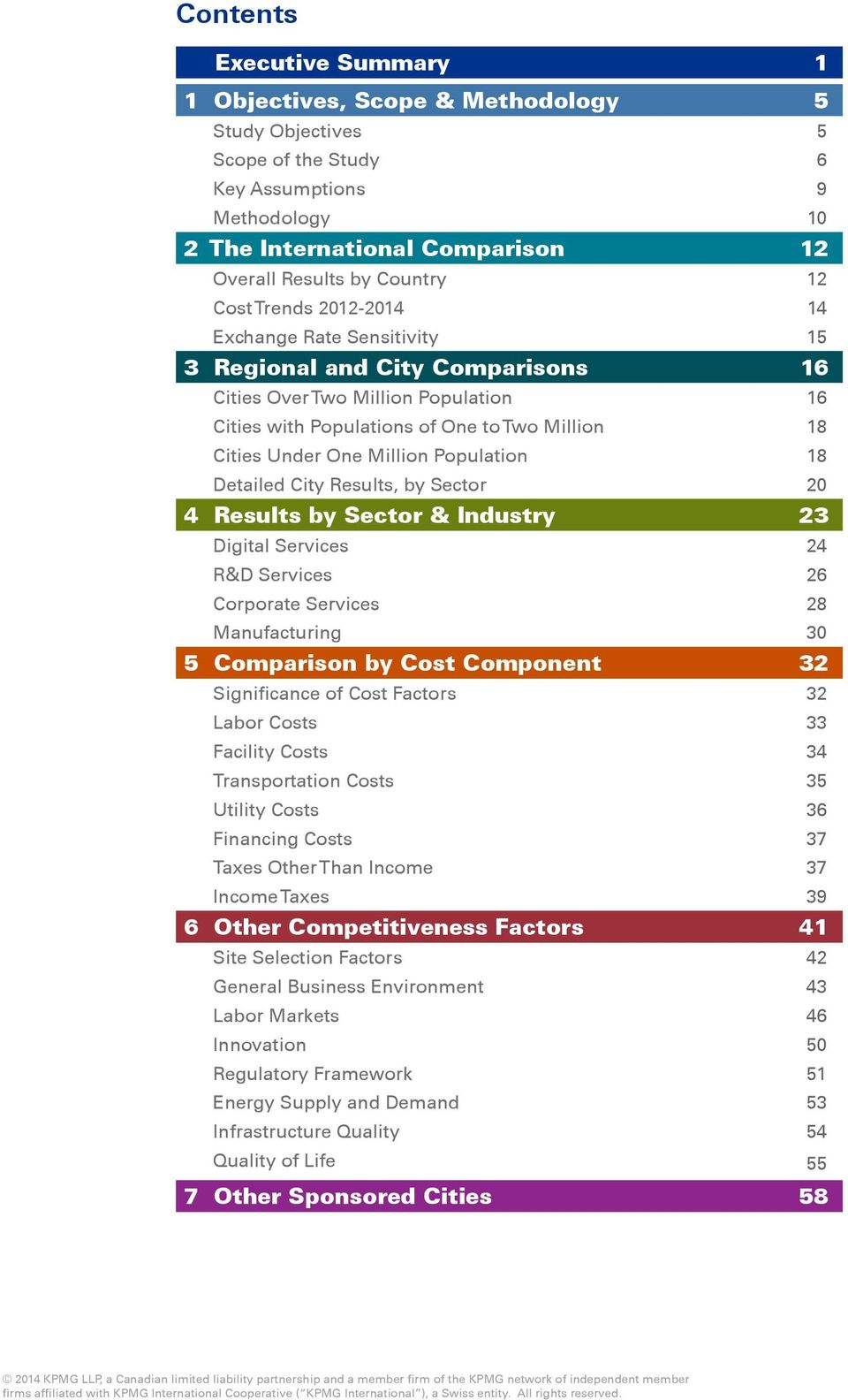 Million Population 18 Detailed City Results, by Sector 20 4 Results by Sector & Industry 23 Digital Services 24 R&D Services 26 Corporate Services 28 Manufacturing 30 5 Comparison by Cost Component