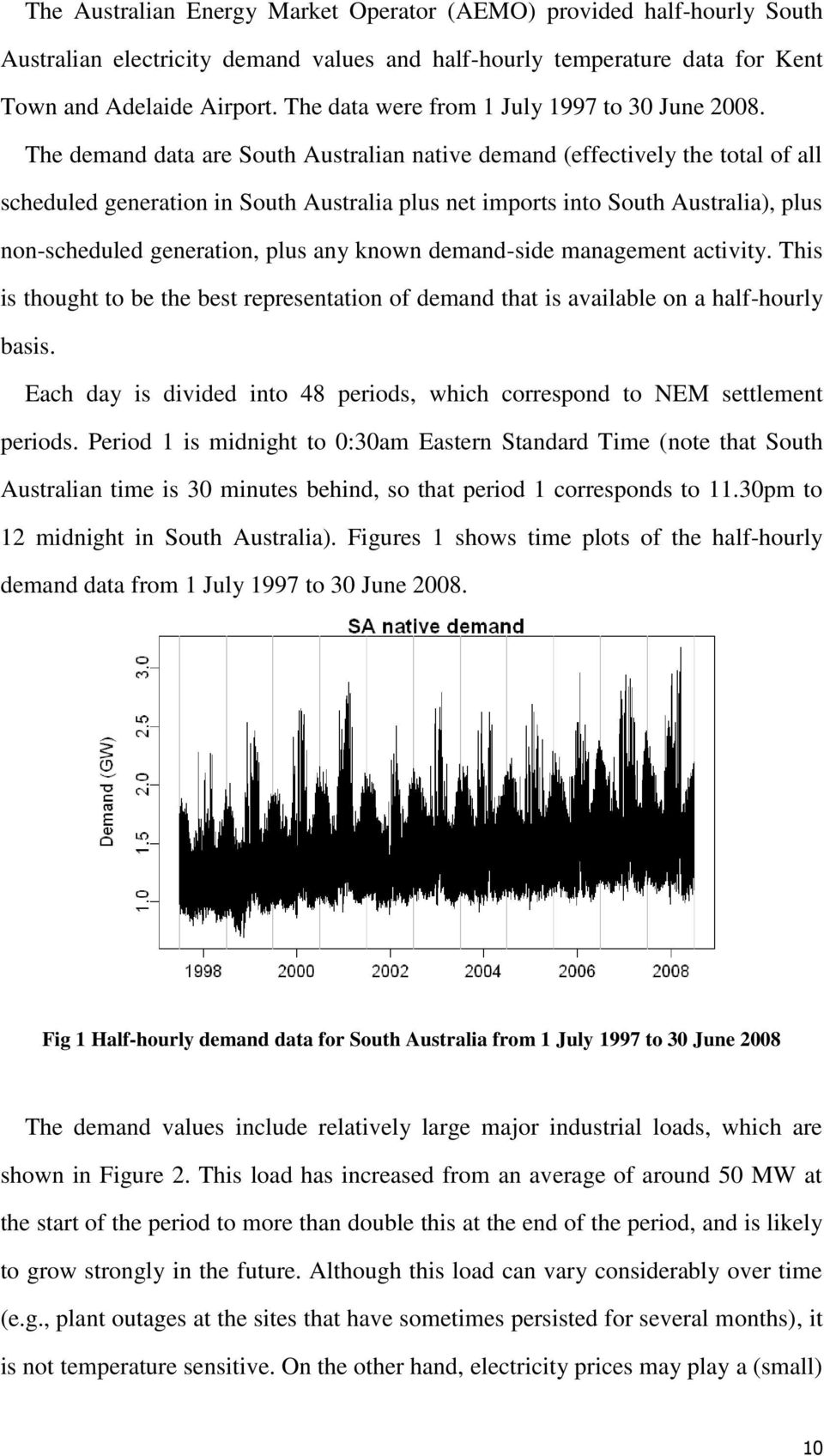 The demand data are South Australian native demand (effectively the total of all scheduled generation in South Australia plus net imports into South Australia), plus non-scheduled generation, plus