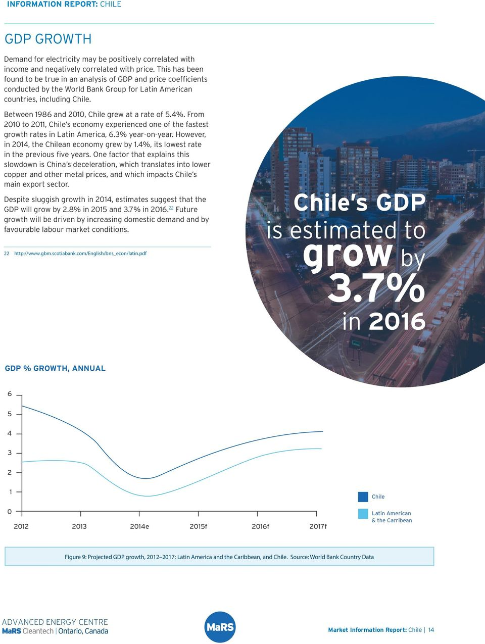 Between 1986 and 2010, Chile grew at a rate of 5.4%. From 2010 to 2011, Chile s economy experienced one of the fastest growth rates in Latin America, 6.3% year-on-year.