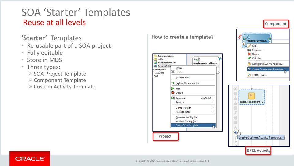 in MDS Three types: SOA Project Template Component Template