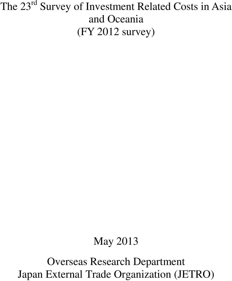 survey) May 2013 Overseas Research