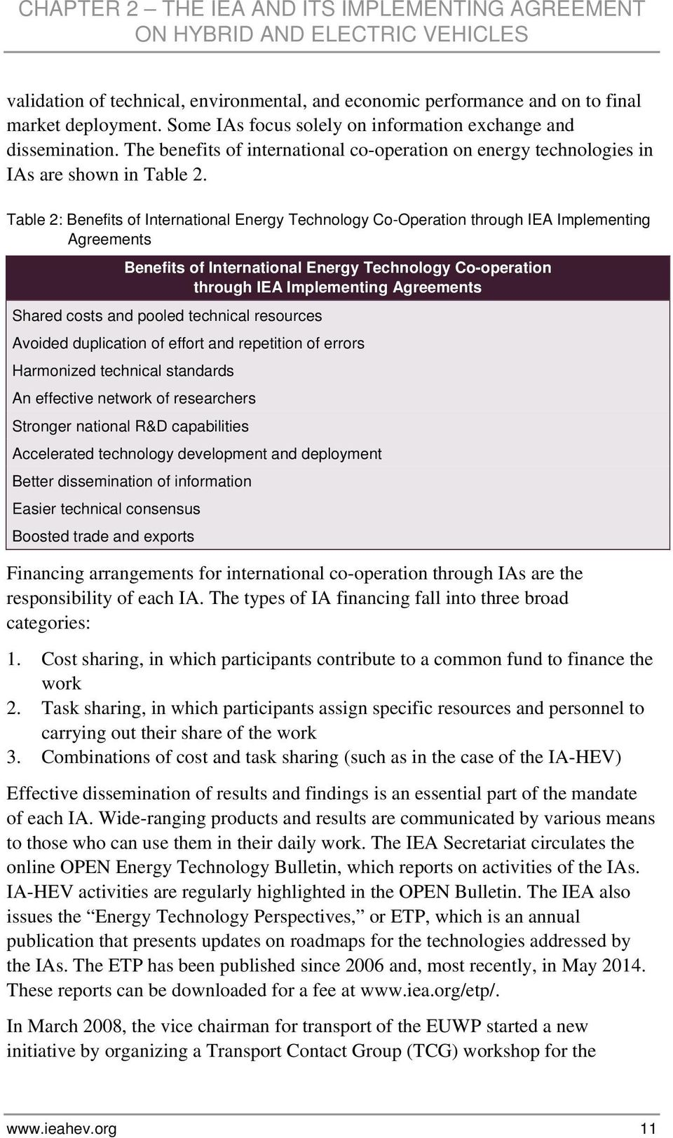 Table 2: Benefits of International Energy Technology Co-Operation through IEA Implementing Agreements Benefits of International Energy Technology Co-operation through IEA Implementing Agreements