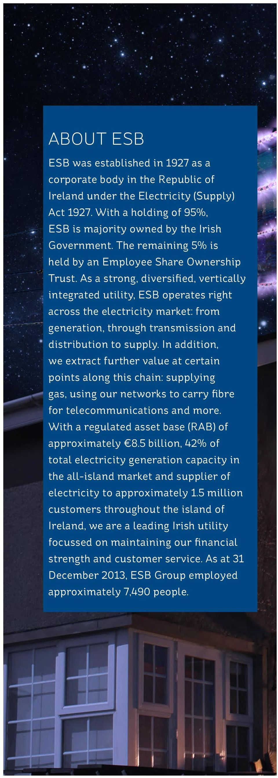 As a strong, diversified, vertically integrated utility, ESB operates right across the electricity market: from generation, through transmission and distribution to supply.