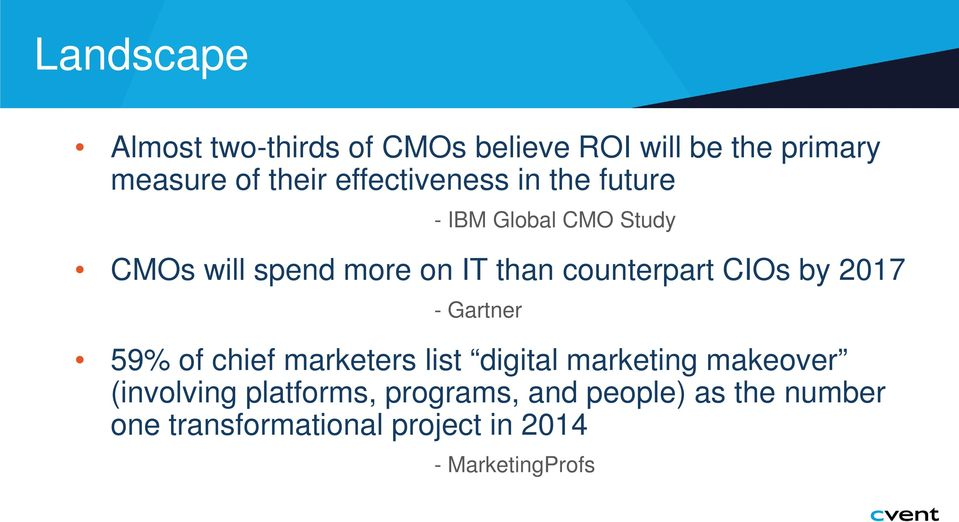 counterpart CIOs by 2017 - Gartner 59% of chief marketers list digital marketing makeover