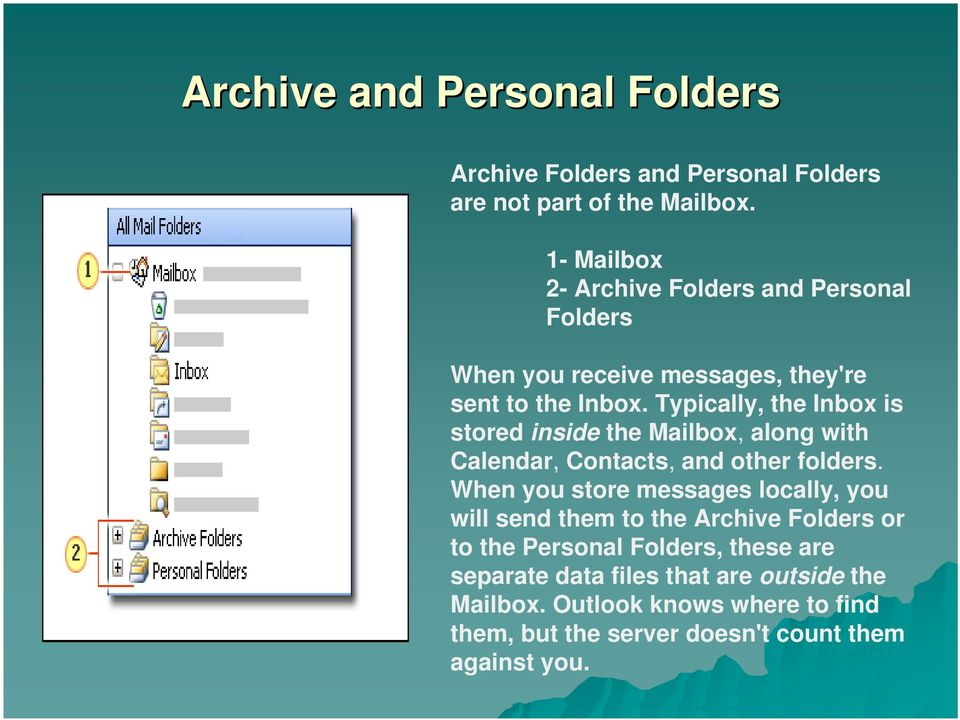 Typically, the Inbox is stored inside the Mailbox, along with Calendar, Contacts, and other folders.