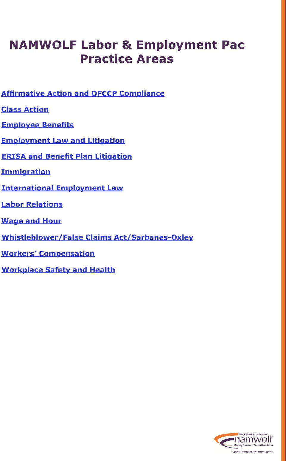 Litigation Immigration International Employment Law Labor Relations Wage and Hour