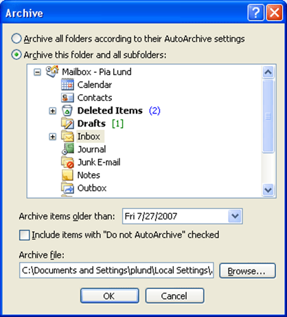 2. Click on the drop down list on the Cleanup Tools button in the Mailbox Cleanup section in the right pane. 3. Select Archive The Archive dialog box appears 4.