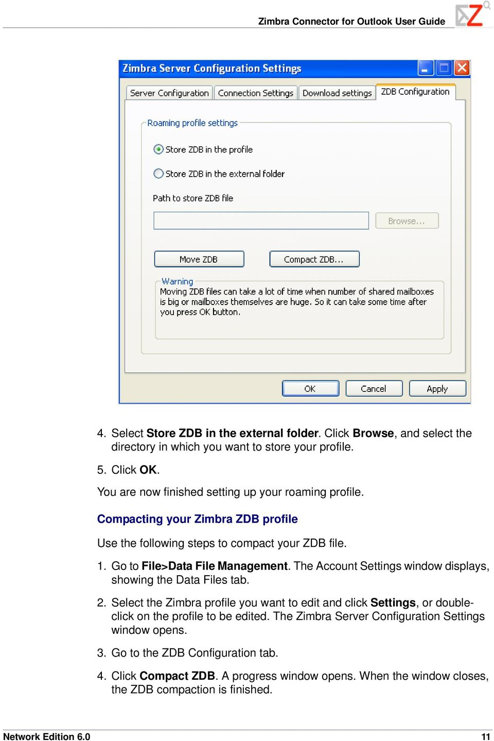 The Account Settings window displays, showing the Data Files tab. 2. Select the Zimbra profile you want to edit and click Settings, or doubleclick on the profile to be edited.
