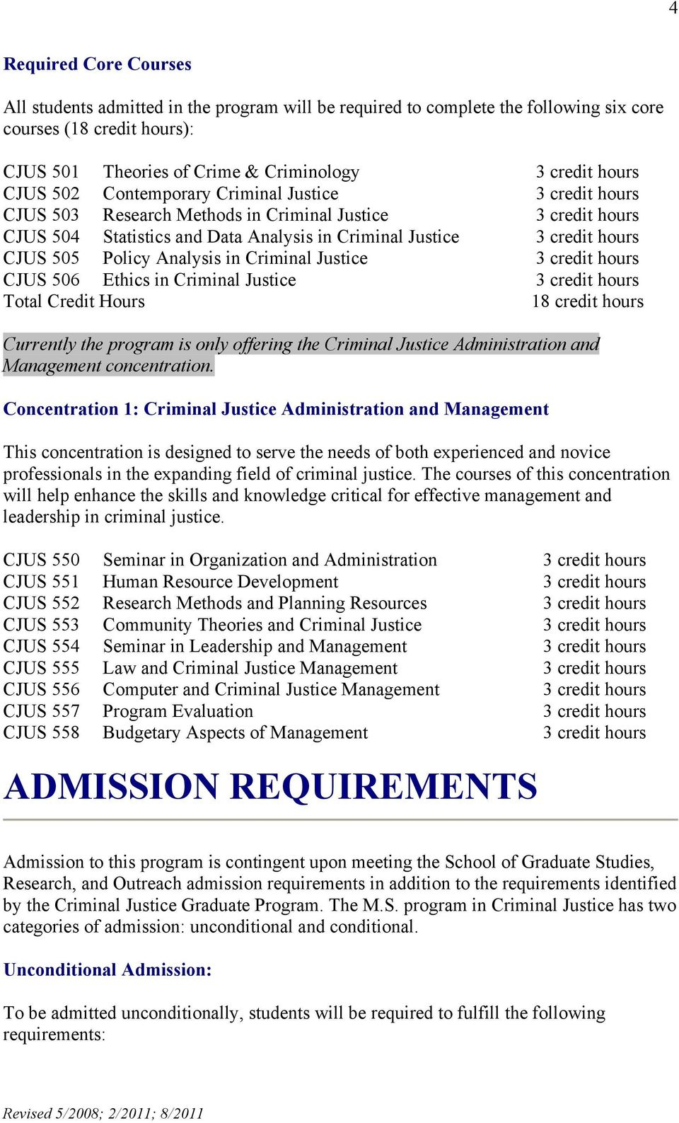 Policy Analysis in Criminal Justice 3 credit hours CJUS 506 Ethics in Criminal Justice 3 credit hours Total Credit Hours 18 credit hours Currently the program is only offering the Criminal Justice