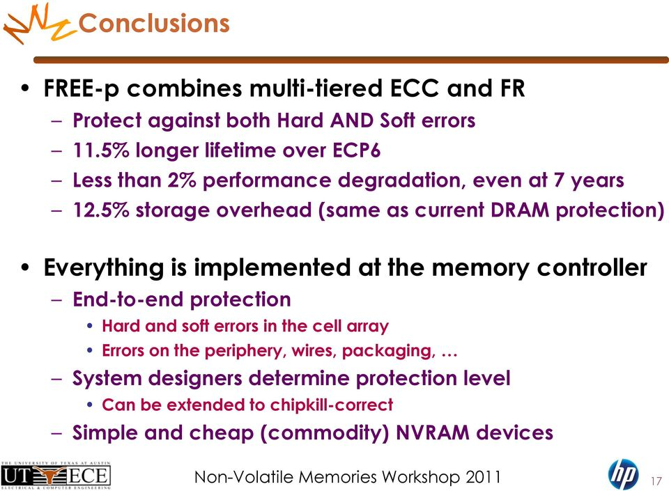 5% storage overhead (same as current DRAM protection) Everything is implemented at the memory controller End-to-end protection