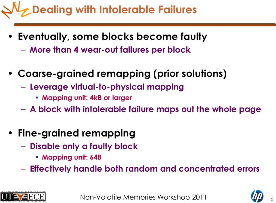 Mapping unit: 4kB or larger A block with intolerable failure maps out the whole page Fine-grained