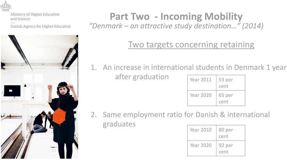 An increase in international students in Denmark 1 year after graduation Year 2011