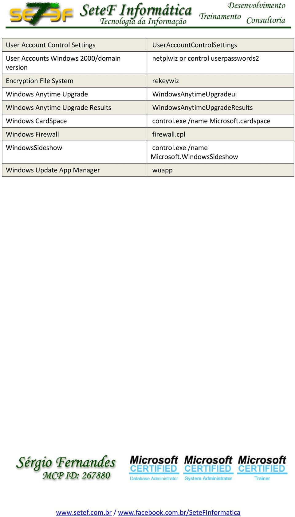 Windows Update App Manager UserAccountControlSettings netplwiz or control userpasswords2 rekeywiz