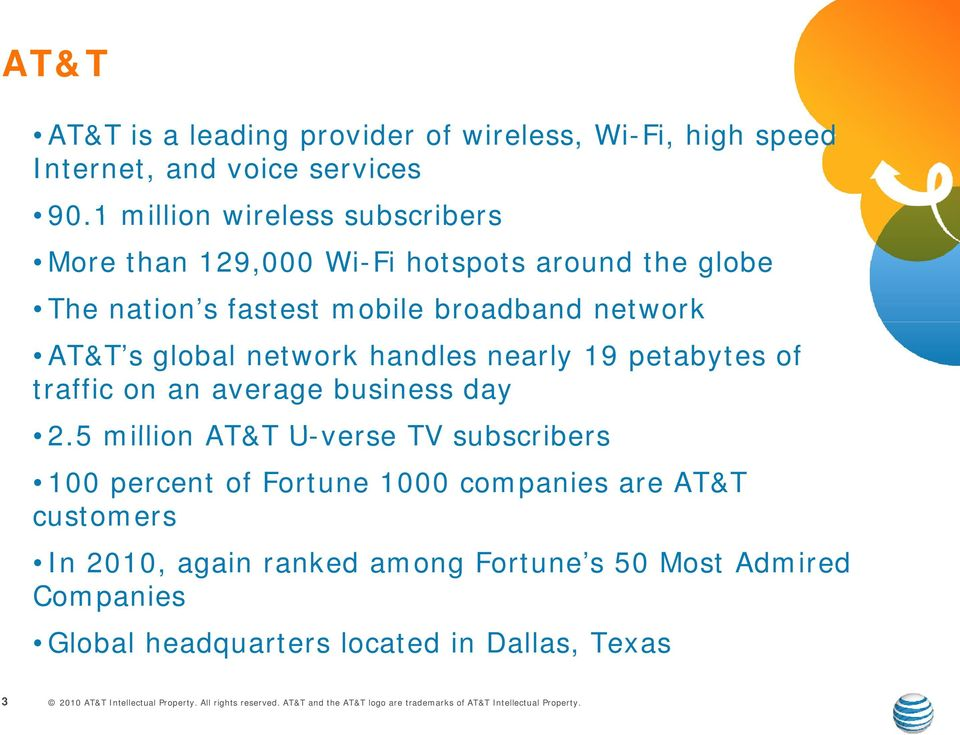 AT&T s global network handles nearly 19 petabytes of traffic on an average business day 2.