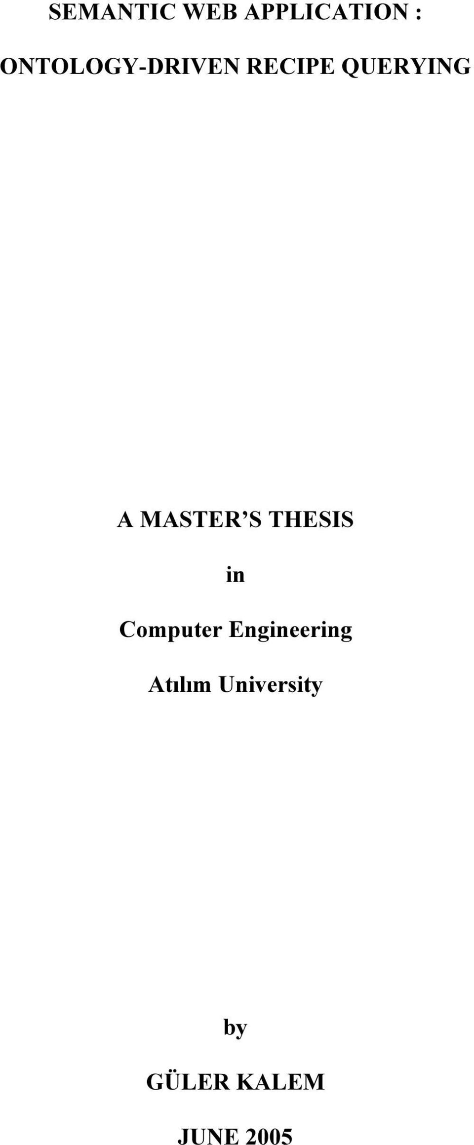 MASTER S THESIS in Computer