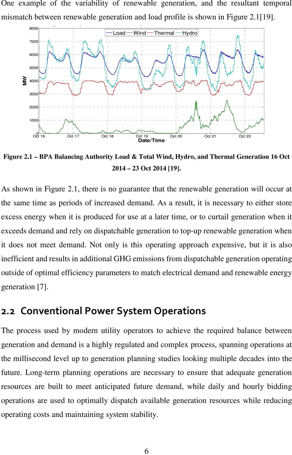 Figure 2.1 BPA Balancing Authority Load & Total Wind, Hydro, and Thermal Generation 16 Oct 214 23 Oct 214 [19]. As shown in Figure 2.