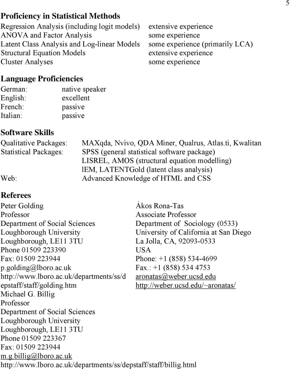 experience 5 Software Skills Qualitative Packages: Statistical Packages: Web: MAXqda, Nvivo, QDA Miner, Qualrus, Atlas.