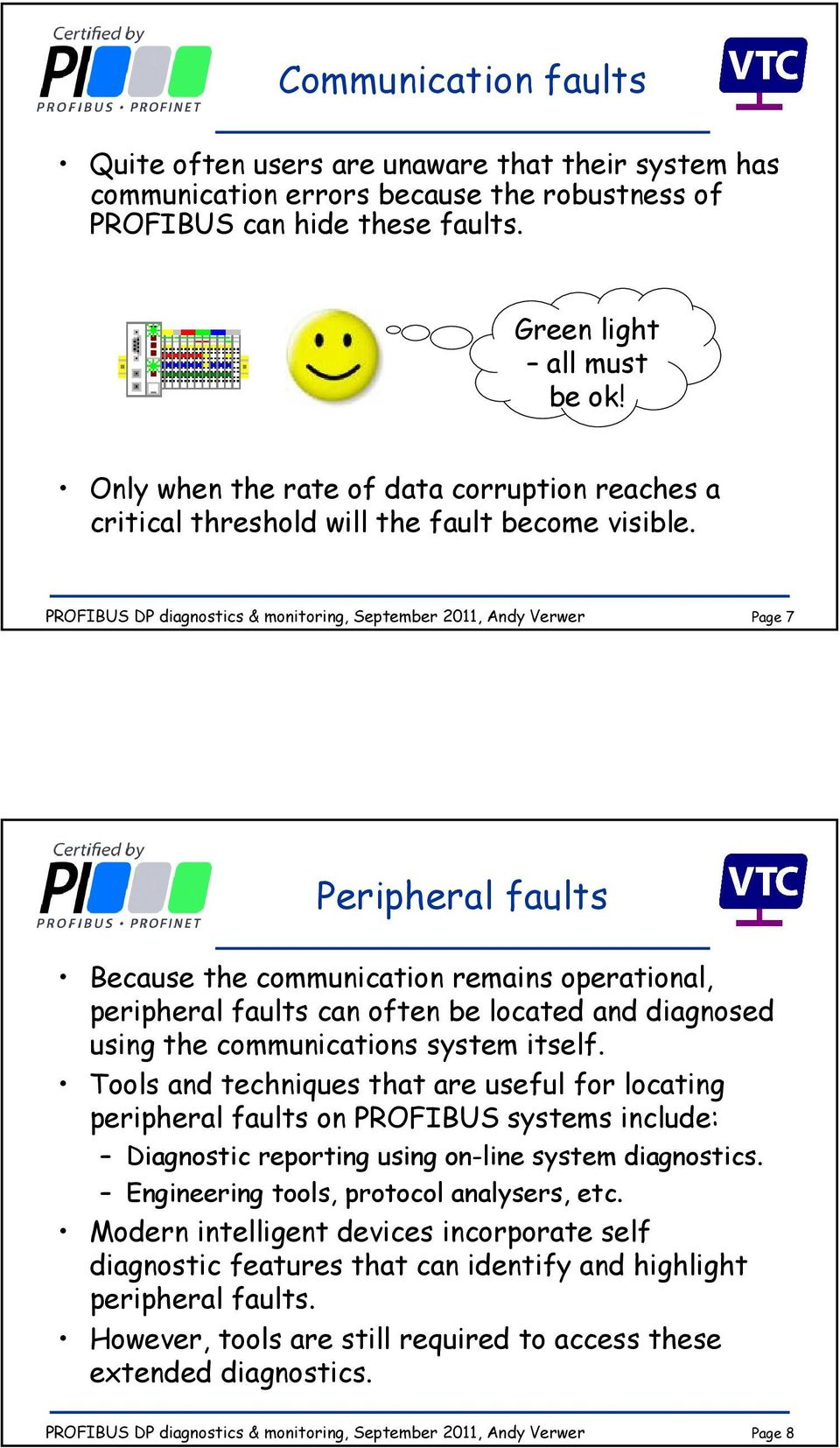 Page 7 Peripheral faults Because the communication remains operational, peripheral faults can often be located and diagnosed using the communications system itself.