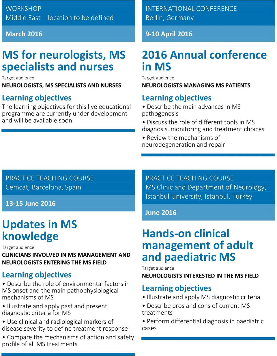 the mechanisms of neurodegeneration and repair Cemcat, Barcelona, Spain 13-15 June 2016 Updates in MS knowledge CLINICIANS INVOLVED IN MS MANAGEMENT AND NEUROLOGISTS ENTERING THE MS FIELD Describe