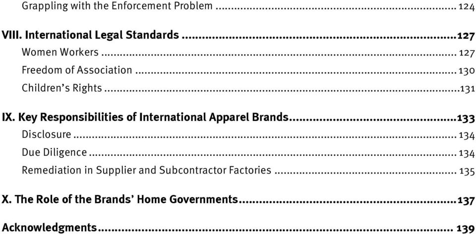Key Responsibilities of International Apparel Brands... 133 Disclosure... 134 Due Diligence.