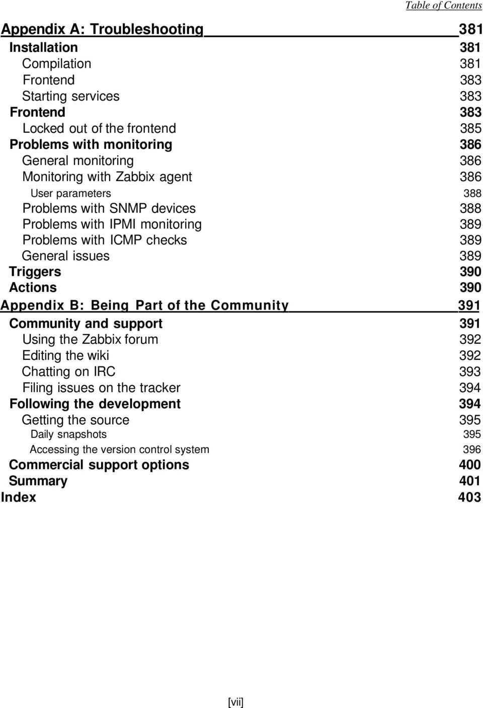 Triggers 390 Actions 390 Appendix B: Being Part of the Community 391 Community and support 391 Using the Zabbix forum 392 Editing the wiki 392 Chatting on IRC 393 Filing issues on