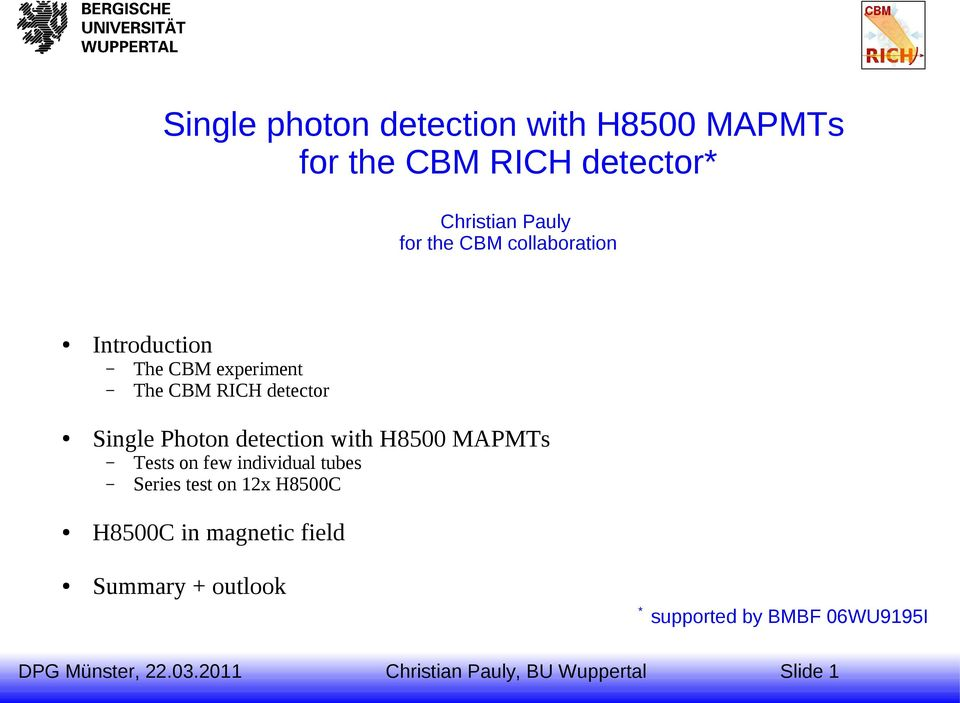 Single Photon detection with H8500 MAPMTs Tests on few individual tubes Series test