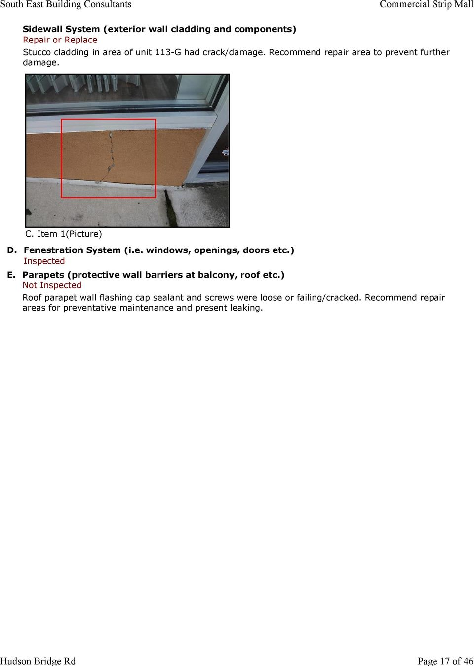 ) Inspected E. Parapets (protective wall barriers at balcony, roof etc.