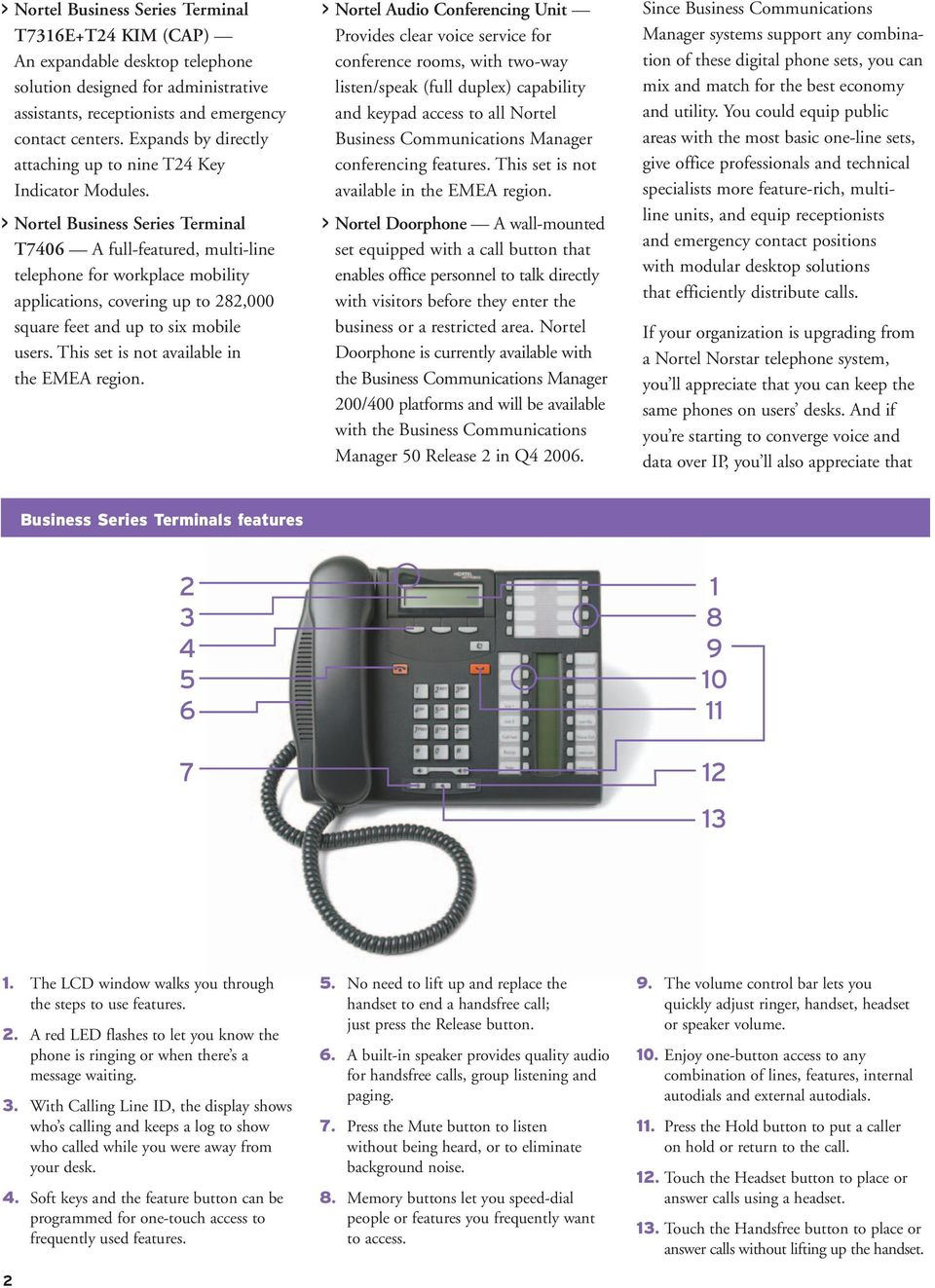 > Business Series Terminal T7406 A full-featured, multi-line telephone for workplace mobility applications, covering up to 282,000 square feet and up to six mobile users.