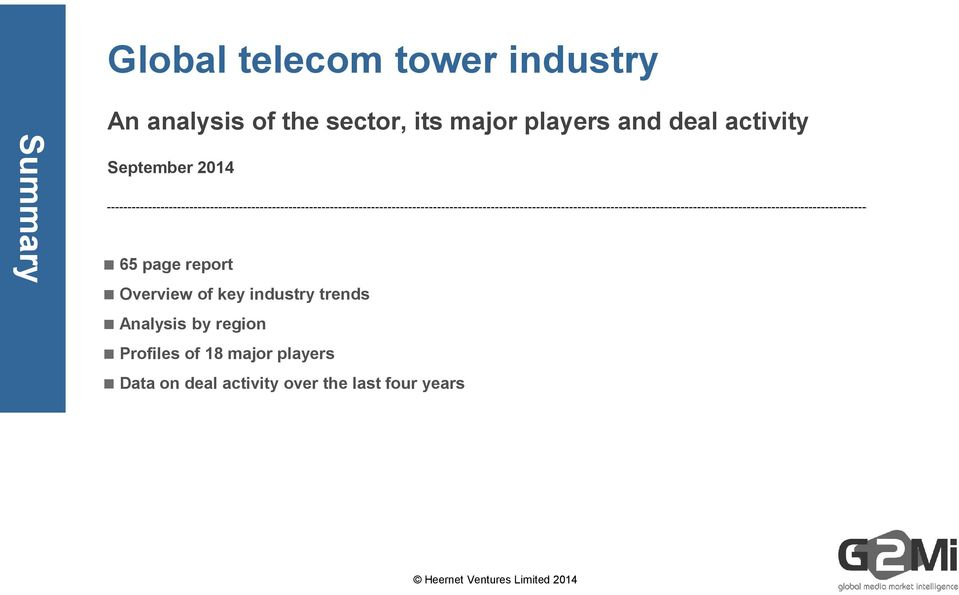 of key industry trends Analysis by region Profiles of 18 major players