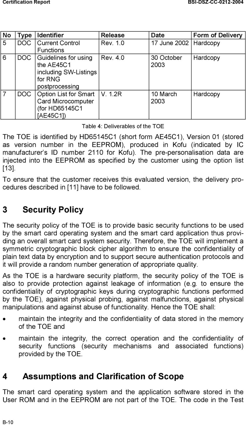 0 30 October 2003 Hardcopy 7 DOC Option List for Smart Card Microcomputer (for HD65145C1 [AE45C1]) V. 1.