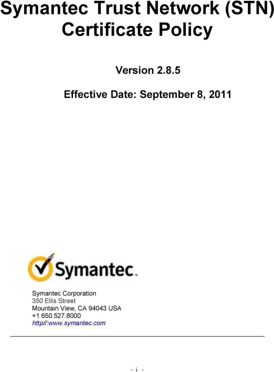 5 Effective Date: September 8, 2011 Symantec