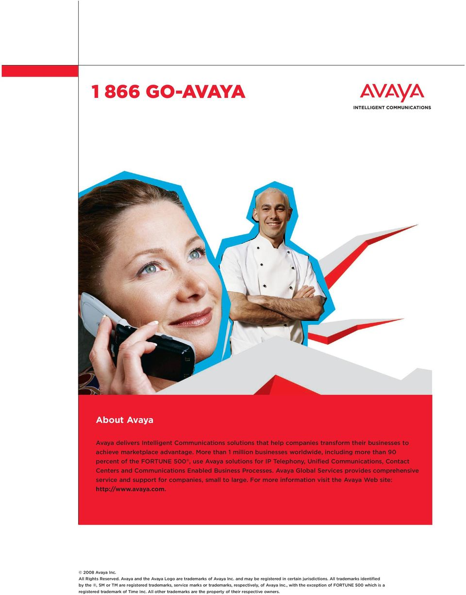 Business Processes. Avaya Global Services provides comprehensive service and support for companies, small to large. For more information visit the Avaya Web site: http://www.. 2008 Avaya Inc.