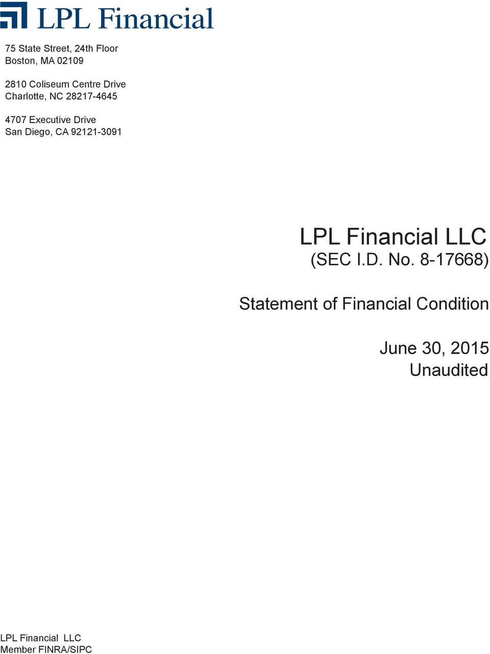 92121-3091 LPL Financial LLC (SEC I.D. No.