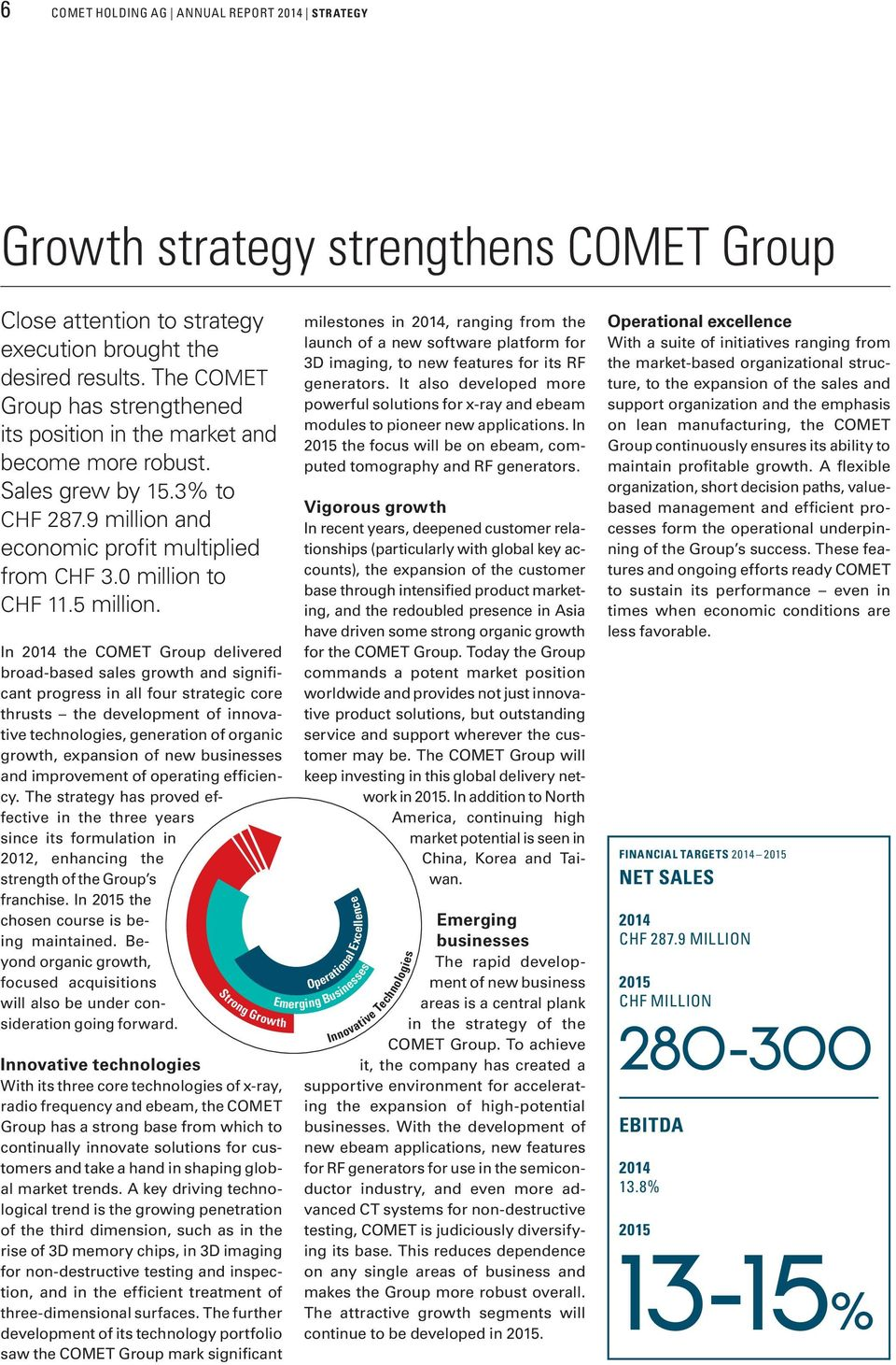 In 2014 the COMET Group delivered broad-based sales growth and significant progress in all four strategic core thrusts the development of innovative technologies, generation of organic growth,