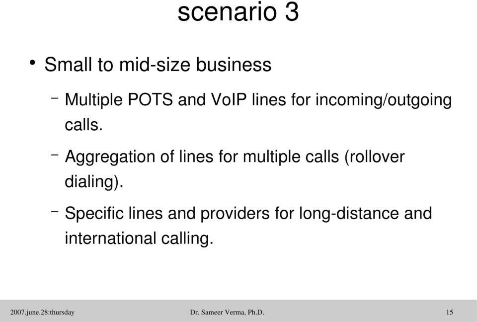 Aggregation of lines for multiple calls (rollover