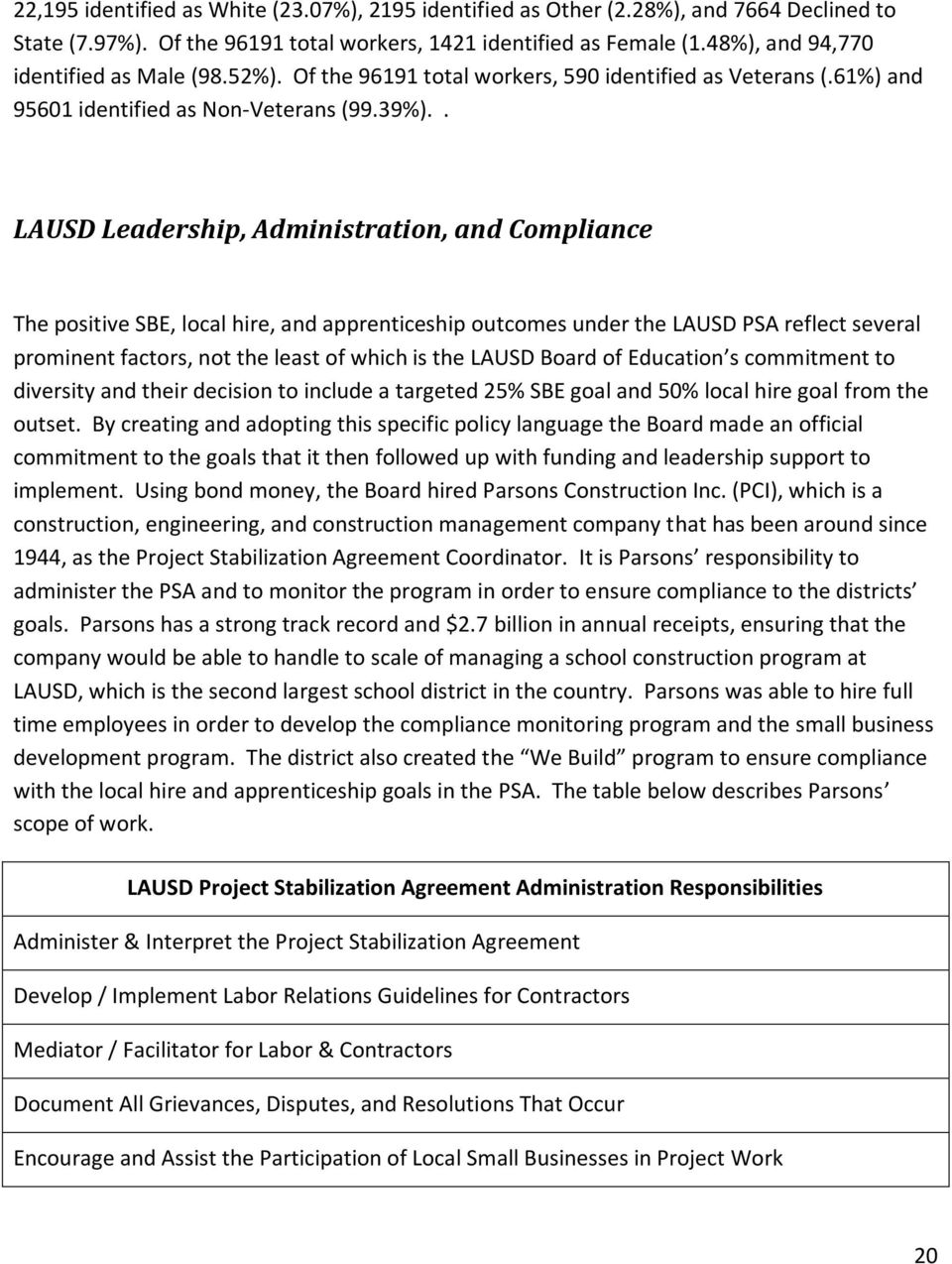 . LAUSD Leadership, Administration, and Compliance The positive SBE, local hire, and apprenticeship outcomes under the LAUSD PSA reflect several prominent factors, not the least of which is the LAUSD