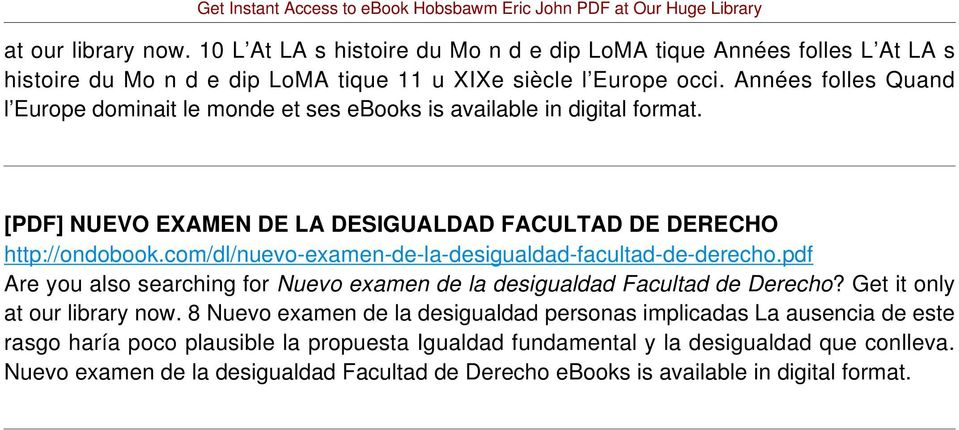 com/dl/nuevo-examen-de-la-desigualdad-facultad-de-derecho.pdf Are you also searching for Nuevo examen de la desigualdad Facultad de Derecho? Get it only at our library now.