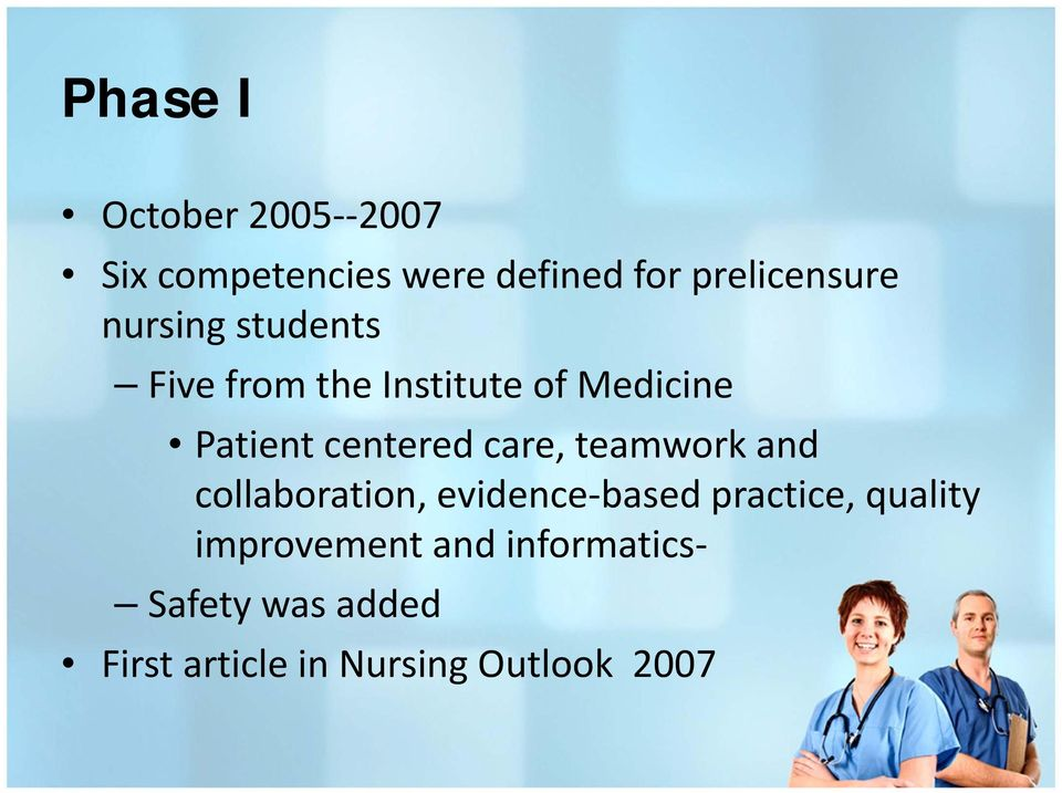 care, teamwork and collaboration, evidence based practice, quality