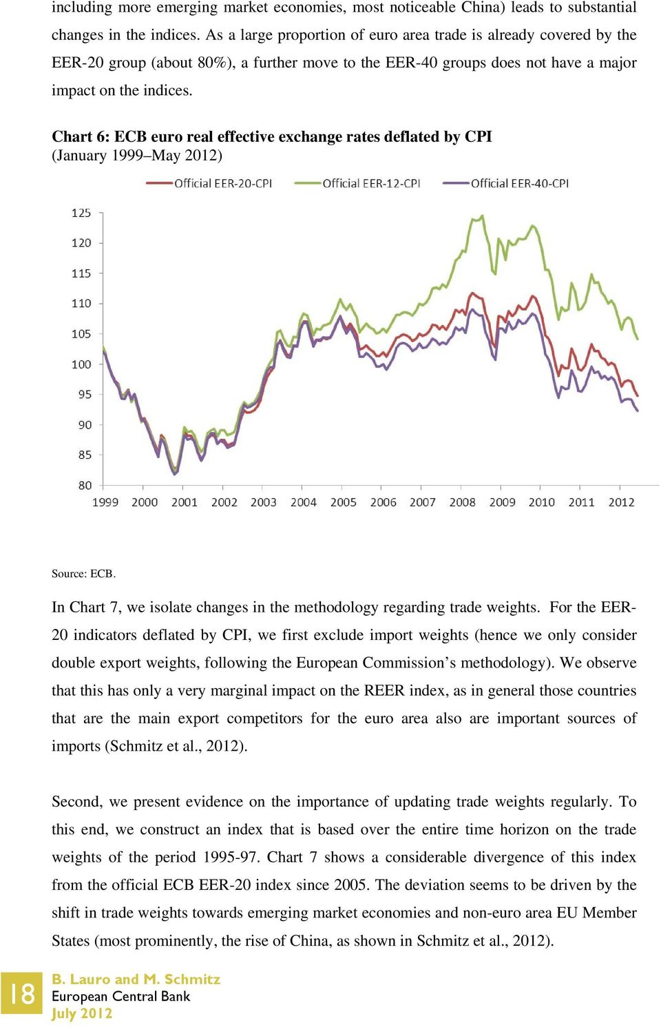 Chart 6: ECB euro real effective exchange rates deflated by CPI (January 1999 May 2012) Source: ECB. In Chart 7, we isolate changes in the methodology regarding trade weights.