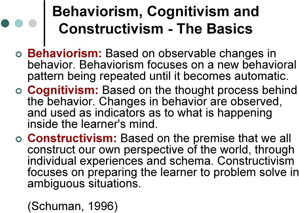 Changes in behavior are observed, and used as indicators as to what is ...