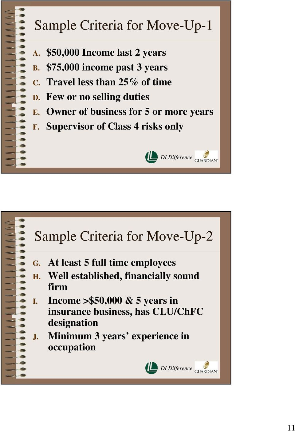 Supervisor of Class 4 risks only Sample Criteria for Move-Up-2 G. At least 5 full time employees H.