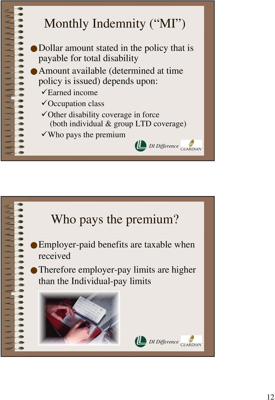 coverage in force (both individual & group LTD coverage) Who pays the premium Who pays the premium?