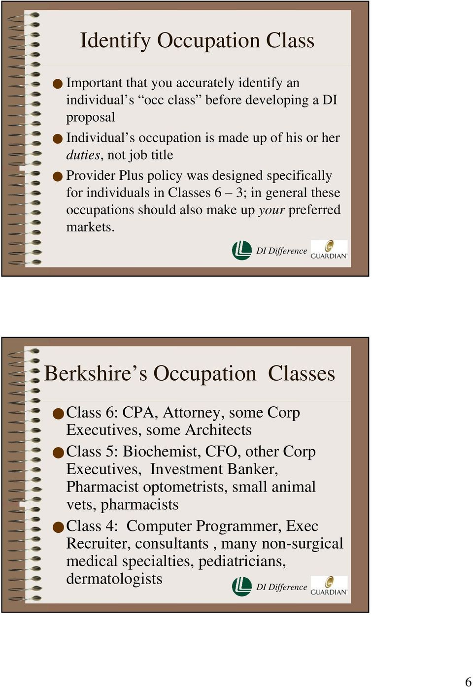 Berkshire s Occupation Classes Class 6: CPA, Attorney, some Corp Executives, some Architects Class 5: Biochemist, CFO, other Corp Executives, Investment Banker, Pharmacist
